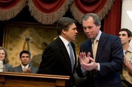 Gov. Rick Perry and Lt. Gov. David Dewhurst on Jan. 27, 2009, before Perry's State of the State address.