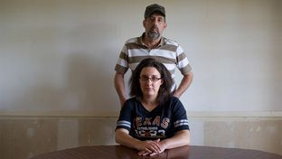 Michelle Gaines, 26, and her father Michael Gaines in their home in Palestine, TX, on Sunday, July 22, 2012.