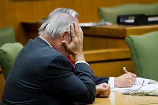 Williamson County State District Judge and former prosecutor Ken Anderson at the first hearing in the court of inquiry investigating his role in the 1987 wrongful conviction of Michael Morton