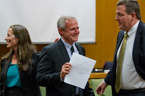 Michael Morton stands in a Williamson County courtroom with his attorneys, John Raley of the Houston law firm Raley & Bowick, and Nina Morrison of the New York-based Innocence Project. Morton was officially exonerated Dec. 19, 2011 after spending nearly 25 years in prison for his wife's murder.
