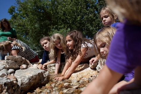 Students at Austin ISD's Casis Elementary explore the pond in their newly built outdoor classroom.