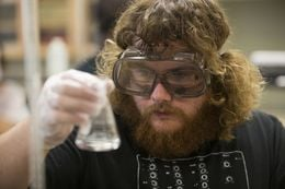 Texas Science Scholar Wesley Powers, a junior chemistry major from Midland, Texas, works on a 3-hour-long lab experiment at the University of Texas of the Permian Basin in Odessa, Texas. Powers is obtaining his chemistry degree in order to attend pharmacy school.