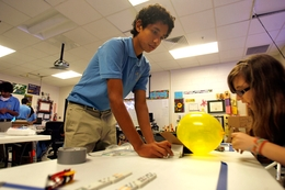 Sophomore student Miguel Nava works on a science experiment at the San Juan Idea Public Schools Tuesday morning in San Juan, Texas November 23, 2010.
