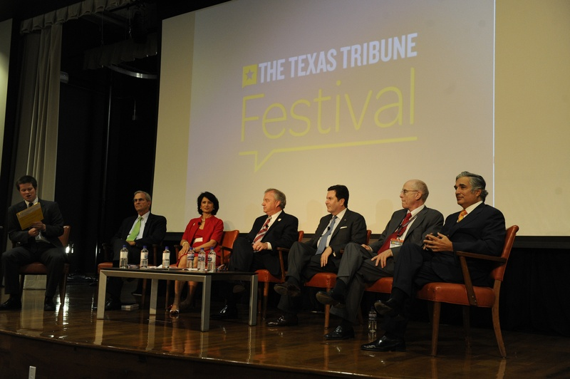 Reeve Hamilton moderates a discussion featuring chancellors from Texas' major university systems: Lee Jackson, University of North Texas; Renu Khator, University of Houston; John Sharp, Texas A&M; Brian McCall, Texas State University; Kent Hance, Texas Tech University; and Francisco Cigarroa, University of Texas.