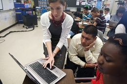Dr. Eva Garza-Nyer, a college counselor assisting Max Garcia and Znobea Williams on financial aids acceptance.