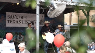 Ray Benson and his bands entertaining the crowds during Save Our Texas History rally.
