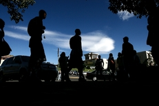 UTEP students make their way through campus.