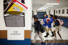 Students entering the classroom at Yes Prep, a public charter school system with 11 campuses serving 7000 students in low income areas of Houston.