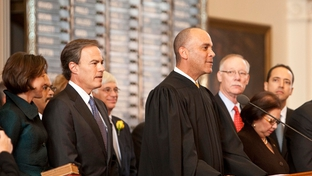 Wallace Jefferson swearing in Joe Straus at the 82nd Legislative Session.