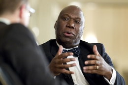 Education Commissioner Michael Williams, a former railroad commissioner, is shown at a TribLive event on Jan. 27, 2011.