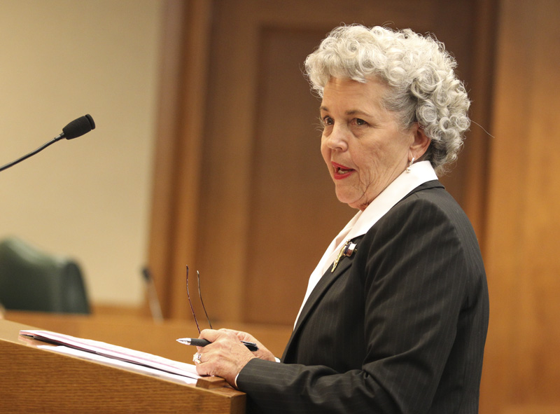 Patti Atkins, president of the Daughters of the Republic of Texas, testifies before the House Committee on Culture, Recreation & Tourism about the Alamo shrine on April 6, 2011.