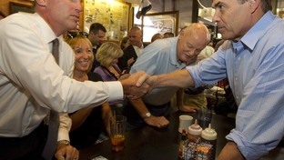 Texas Governor Rick Perry campaigns Monday at the Hamburg Inn restaurant in downtown Iowa City for the Republican presidential nomination.