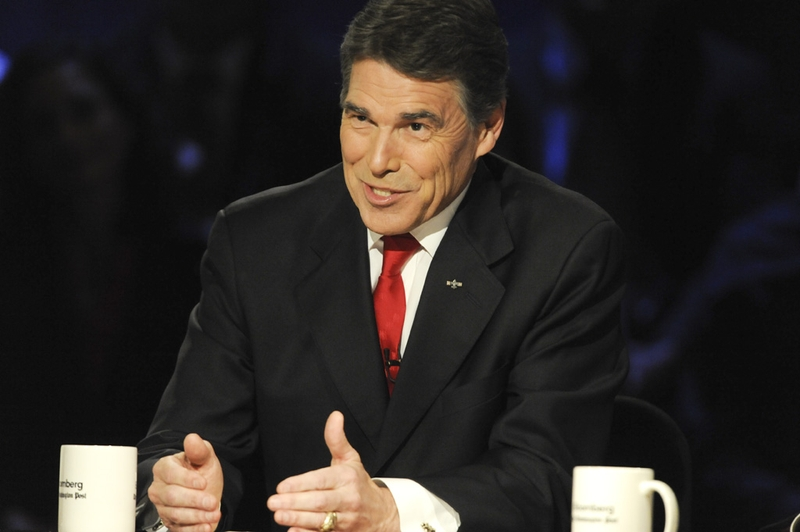 Gov. Rick Perry at the Republican presidential debate at Dartmouth College on Oct. 11, 2011.