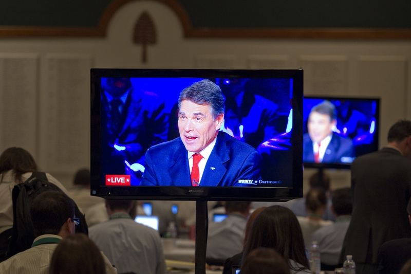 The Dartmouth College press room at the Republican presidential debate on Oct. 11, 2011.