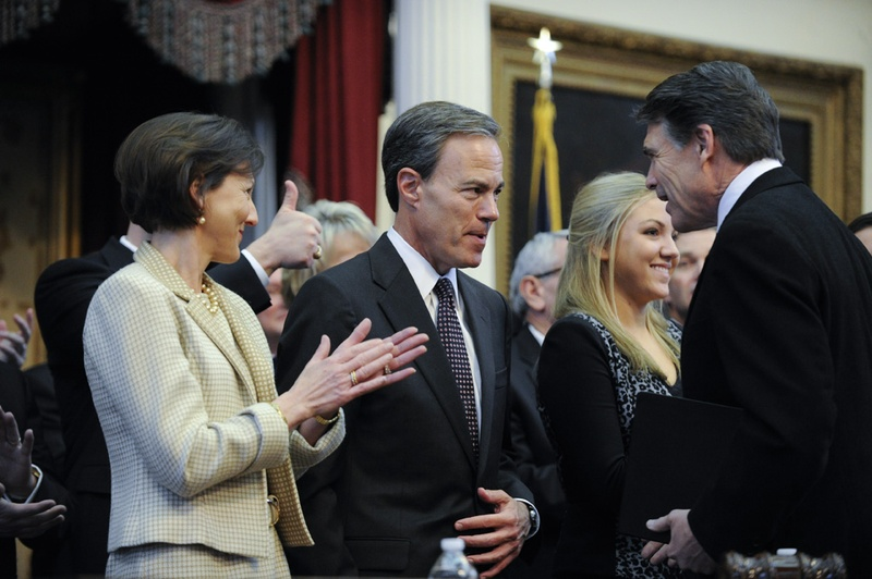Governor Rick Perry, r, congratulated House Speaker Joe Straus, R-San Antonio, on his reelection at the opening of the 83rd Texas Legislature on January 8, 2013