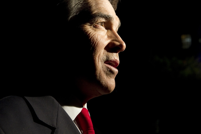 Gov. Rick Perry while leaving the Republican presidential debate at Dartmouth College on Oct. 11, 2011.