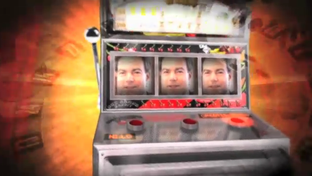 Joe Straus' face on a slot machine. Screen grab from internet ad.
