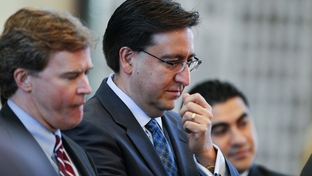 State Rep. Pete Gallego (c), D-Alpine, waits to speak on an amendment to HB1 the state budget on April 1, 2011