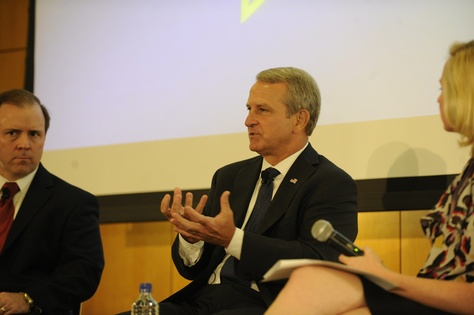 Texas Health and Human Services commissioner Kyle Janek (center) with deputy commissioner Chris Traylor and moderator Emily Ramshaw in a discussion of the future of state health policy at The Texas Tribune Festival on Sept. 22, 2012.