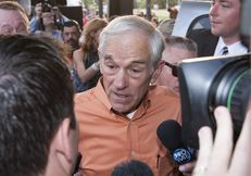 Ron Paul speaking to reporters after a rally at the University of Texas at Austin on April 26, 2012.