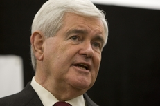 Newt Gingrich at a press conference after a debate with Herman Cain in The Woodlands on Nov. 5, 2011.