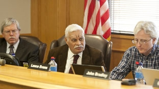 Texas Forensic Science Commission members (left to right) Dr Stanley Hamilton,  Dr. Nizam Peerwani and Lance Evans on April 14th, 2011