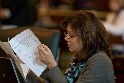 Sen. Joan Huffman on the floor of the Texas Senate.