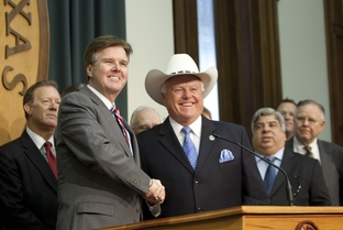 Sen. Dan Patrick, R-Houston with Rep. Sid Miller R-Stephenville speak together if favor of HB 15, the abortion sonogram bill on May 4th, 2011
