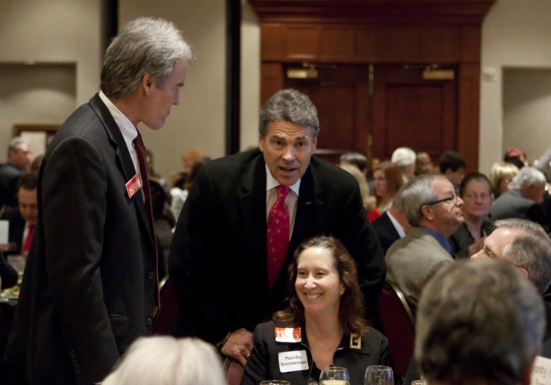 Gov. Rick Perry with supporters at Williamson County Republican dinner in Round Rock, his first public speech since leaving the presidential race.
