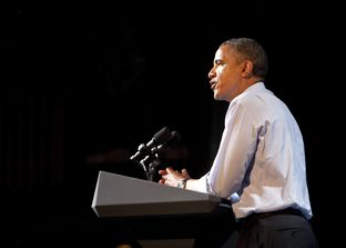 President Obama speaks to crowd at the Austin Music Hall on July 17, 2012.