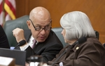 Sen. John Whitmire D-Houston speaks with Sen. Judith Zaffirini D-Laredo during Senate Finance Committee meeting on June 2nd, 2011