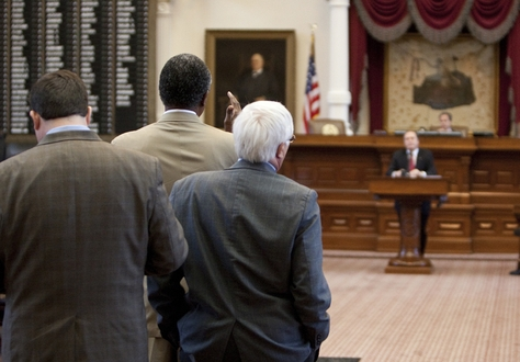 Several Democrats line up at back mic to speak with Rep. Rob Eissler R-The Woodlands while discussing amendments to SB8 on June 16th, 2011