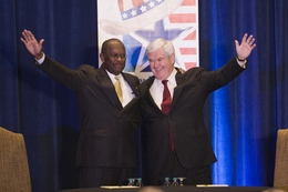 GOP PResidential hopefuls, Herman Cain and Newt Gingrich before Lincoln-Douglas type debate on November 5th, 2011 The Woodlands, Texas