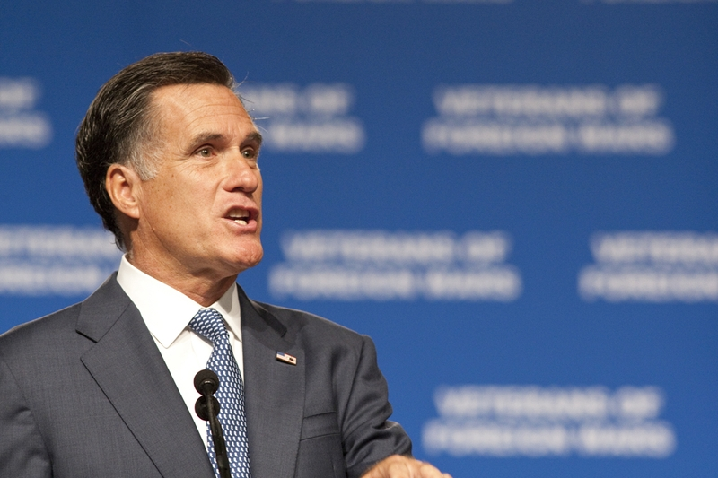Mitt Romney speaking at the Veterans of Foreign Wars conference in San Antonio on Aug. 30, 2011.