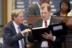 Rep. Jim Pitts, R-Waxahachie, speaks with Rep. John Otto, R-Dayton, on the House floor during the budget debate.