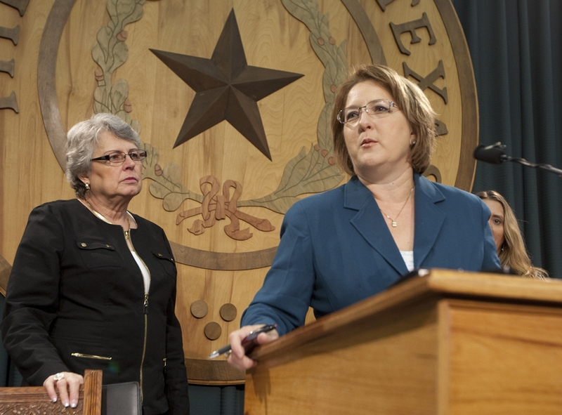 Former gubernatorial candidate Debra Medina speaks at the Texas Capitol about crony capitalism, joined by Janet Ahmad of Homeowners for Better Building, on Sept. 22, 2011