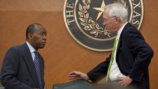 Rep. Sylvester Turner D-Houston, speaks with Sen. Steve Ogden R-Bryan during finance committee hearing on May 23rd, 2011