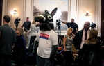 Robert Stephenson, dressed as the donkey, tried to keep the mood light at the Democratic watch party at the Driskoll Hotel in downtown Austin.
