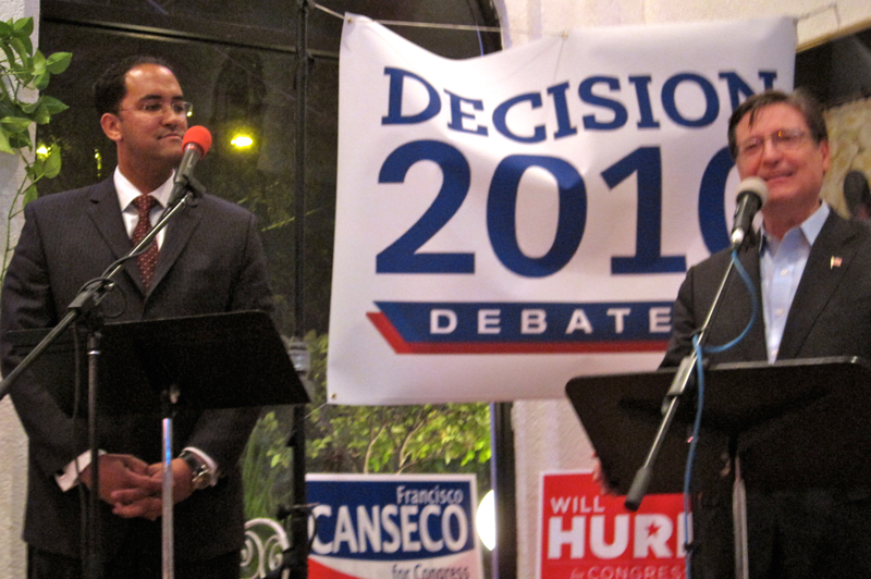 "Will Hurd (left) and Fransisco ""Quico"" Canseco (right) at a Bexar County Young Republicans debate."