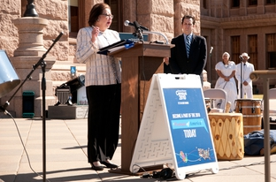 Texas Secretary of State Hope Andrade announcing the launch of the 2010 census in Texas