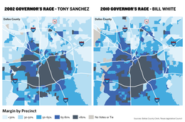 Dallas County has grown increasingly Democratic in the last decade. In the map, darker precincts represent support for Democrats Tony Sanchez and Bill White, who ran in 2002 and 2010, respectively.