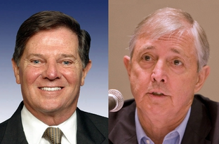 Former U.S. Rep. Tom DeLay, R-Sugar Land, and former Travis County D.A. Ronnie Earle.