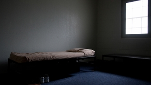 An empty cell at a state a juvenile correctional facility.