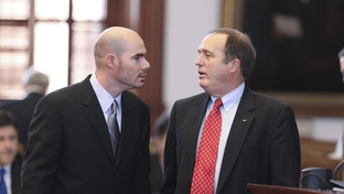 State Rep. Dennis Bonnen (L), R-Angleton, has words with state Rep. Rob Eissler, R-The Woodlands, during debate on Eissler's HB500 on April 6, 2011.