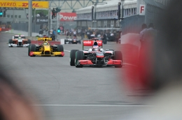 F1s exiting the pitlane during the 3rd free practice  at the 2010 Montreal Grand Prix.