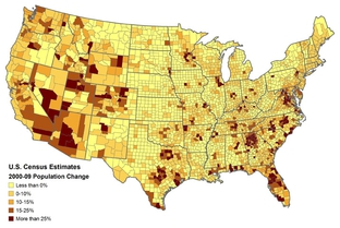 U.S. Census Bureau Population Change Estimates from 2000-09.