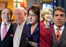 From left to right: Farouk Shami, Bill White, Debra Medina, Kay Bailey Hutchison, and Rick Perry