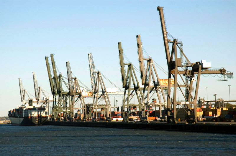 Shipping container cranes in the Port of Houston