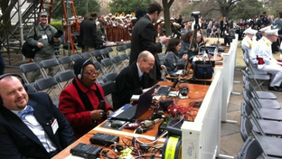 Reporters at Gov. Rick Perry's 2011 inauguration.