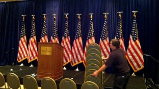 Guilds Davis installs chairs in ballroom at the Francis Marion Hotel in Charleston, S.C., on Friday, Aug. 12, 2011, where Gov. Rick Perry will announce for president Saturday.